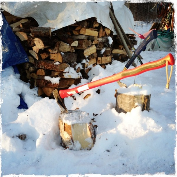Splitting Maul and Firewood, Talkeetna Alaska