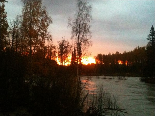 Dawn over the Talkeetna River, flood of 2012